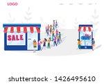 shopping vs mobile shopping.... | Shutterstock .eps vector #1426495610