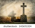 Cross On Tombstone Grunge Wall...