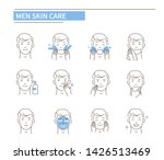 man use different skin care... | Shutterstock .eps vector #1426513469