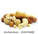 Assorted Mixed Nuts On White...