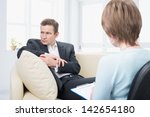 upset man with a problem on a... | Shutterstock . vector #142654180