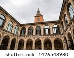 Outdoor court in Archiginnasio library of Bologna. It is one of the most important building in Bologna, Italy.