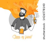 bearded man drinking cold beer... | Shutterstock .eps vector #1426578140