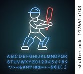 cricket player neon light icon. ... | Shutterstock .eps vector #1426615103