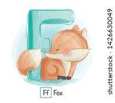 Stock vector cute animal alphabet series a z 1426630049