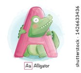 Stock vector cute animal alphabet series a z 1426633436