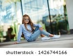 beautiful little girl with long ... | Shutterstock . vector #1426744166