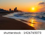 Ostend (Oostende) city beach at sunset by the North Sea, Belgium.