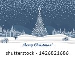 merry christmas greeting card....   Shutterstock . vector #1426821686