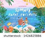 summer family happy holidays ... | Shutterstock .eps vector #1426825886