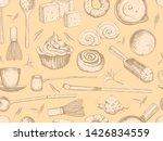 matcha seamless pattern.... | Shutterstock .eps vector #1426834559