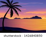 silhouette of palm trees at... | Shutterstock .eps vector #1426840850