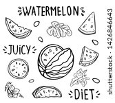 set of elements of watermelon ... | Shutterstock .eps vector #1426846643