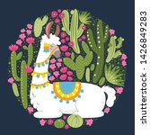 illustration with llama and... | Shutterstock .eps vector #1426849283