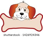 cute puppy and bone  dog  dog... | Shutterstock .eps vector #1426924346