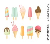 ice cream cone and bar. pastel... | Shutterstock .eps vector #1426968143