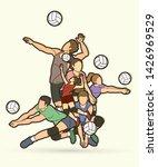 volleyball sport action cartoon ... | Shutterstock .eps vector #1426969529