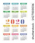 calendar 2020 year. vector... | Shutterstock .eps vector #1427003036