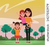 family avatar mother with short ... | Shutterstock .eps vector #1427032979