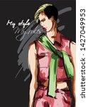 beautiful young women in a pink ... | Shutterstock .eps vector #1427049953