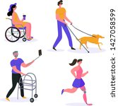 Stock vector happy disabled people woman runs with prosthesis blind man with dog guide girl on wheelchair 1427058599