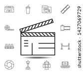 clapperboard icon. simple thin...