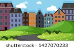 view of town from park...   Shutterstock .eps vector #1427070233