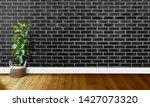 black brick walls with wooden...   Shutterstock . vector #1427073320