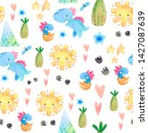 hand drawn seamless pattern... | Shutterstock . vector #1427087639