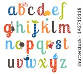 cute boy themed alphabet vector ... | Shutterstock .eps vector #142710118