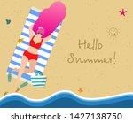 woman on beach tanning.... | Shutterstock .eps vector #1427138750
