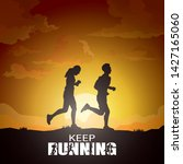 running silhouettes  sport and... | Shutterstock .eps vector #1427165060