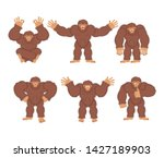 Stock photo bigfoot set poses and motion yeti happy and yoga abominable snowman sleeping and angry monster 1427189903