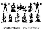 a woman in silhouette using... | Shutterstock . vector #1427194019