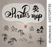 Pirates Map Icon Set Sea Old...
