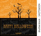 halloween card or background. | Shutterstock . vector #142726324