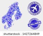 air plane vector scandinavia... | Shutterstock .eps vector #1427264849