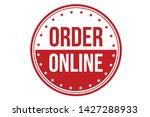 order online rubber stamp. red...   Shutterstock .eps vector #1427288933