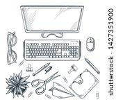 workplace  vector sketch top... | Shutterstock .eps vector #1427351900