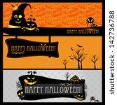 halloween card or banner. | Shutterstock . vector #142736788
