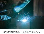 worker in a protective wardrobe ...   Shutterstock . vector #1427412779