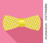 striped gold bow tie icon. flat ...