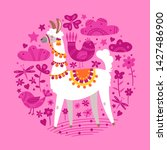 illustration with llama  round... | Shutterstock .eps vector #1427486900