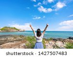young girl woman female on...   Shutterstock . vector #1427507483