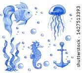 hand drawn watercolor set of...   Shutterstock . vector #1427513393