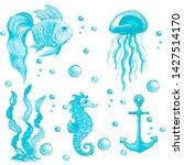 hand drawn watercolor set of...   Shutterstock . vector #1427514170