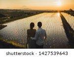 blurred couple in love watching ...   Shutterstock . vector #1427539643
