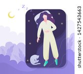 woman sleep. person rest in the ... | Shutterstock .eps vector #1427543663