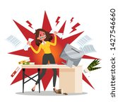 angry offie worker crushing the ... | Shutterstock .eps vector #1427546660