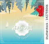 vector vintage seaside view... | Shutterstock .eps vector #142755046